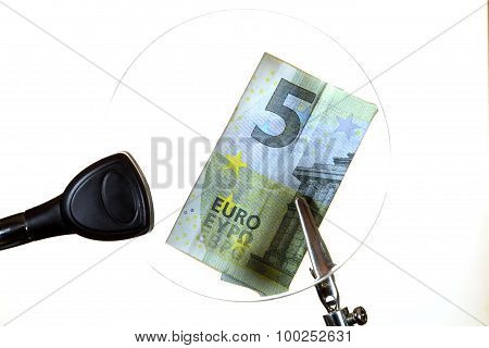 Euro Note Behind A Glass