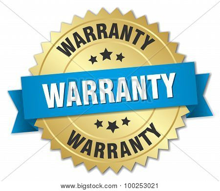 Warranty 3D Gold Badge With Blue Ribbon