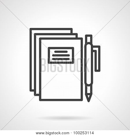 School writing simple line vector icon