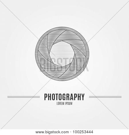 Camera Shutter Aperture - Branding Identity Element, Isolated On White Background.