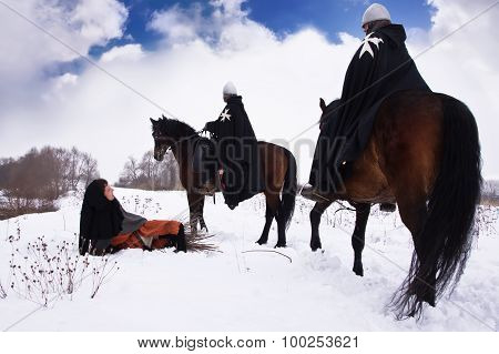 Scared Peasant And Riding Knights Hospitallers