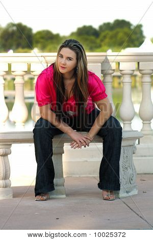 Beautiful Teen Girl Sitting on an Outdoor Bench (2)
