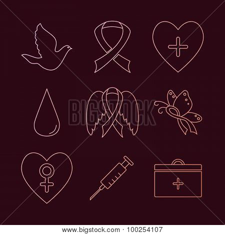 Collection Of Breast Cancer Awareness Icons
