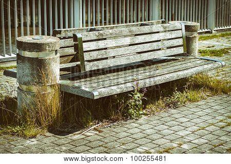 Modern bench with sidewalk