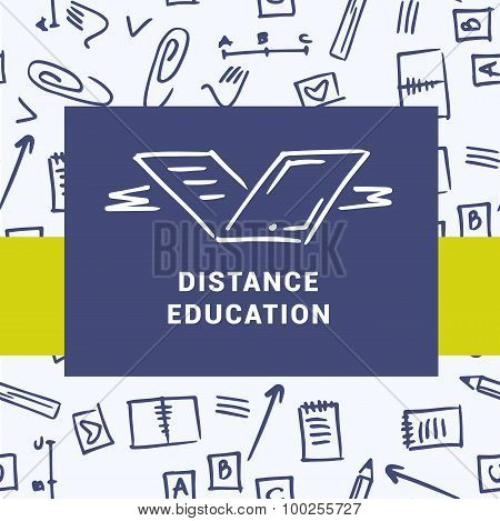 Logo of distance education courses. Education on the Internet. Background with symbols of study