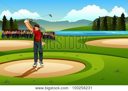 Man Playing Golf In The Competition