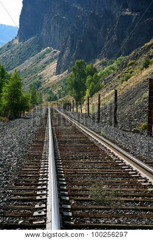 Railroad tracks and mountains