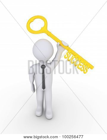 Happy Businessman With Success Key