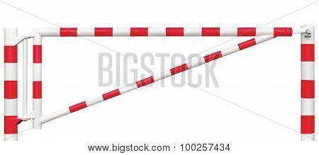 Gated Road Barrier Closeup, Roadway Gate Bar In Bright White And Red, Traffic Entry Stop Block