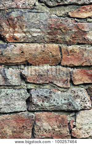 Stone Wall Macro Closeup, Stonewall Pattern Background, Vertical Old Aged Weathered Red And Grey