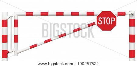 Gated Road Barrier Closeup, Octagonal Stop Sign, Roadway Gate Bar In Bright White And Red, Traffic