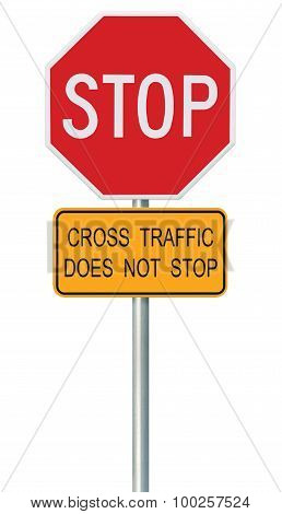 Red Stop Sign, Isolated Traffic Regulatory Warning Signage Octagon, White Octagonal Frame, Metallic