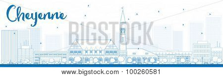Outline Cheyenne (Wyoming) Skyline with Blue Buildings. Vector Illustration