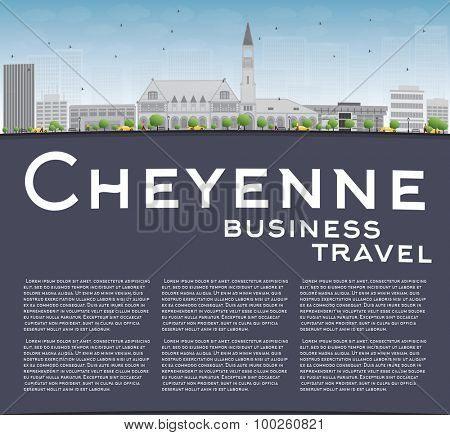 Cheyenne (Wyoming) Skyline with Grey Buildings and Blue Sky. Business travel concept. Vector Illustration