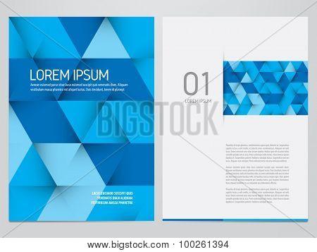 Vector brochure, annual report, flyer, magazine template. Modern blue triangles design.