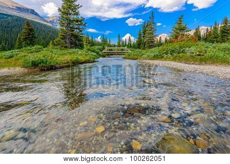 Majestic mountain river in Canada. Bow Lake Park. Jasper. Alberta.