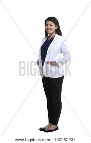 Asian Female Doctor Standing Fullbody