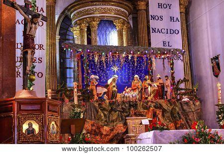 Basilica Christmas Creche Cross Altar Parroquia Archangel Church San Miguel Mexico