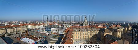 Panorama Of Dresden Old Town Historic Center, Saxony, Germany.