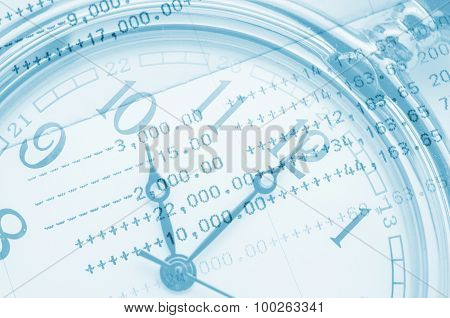 Clock Face And Book Bank Statement.