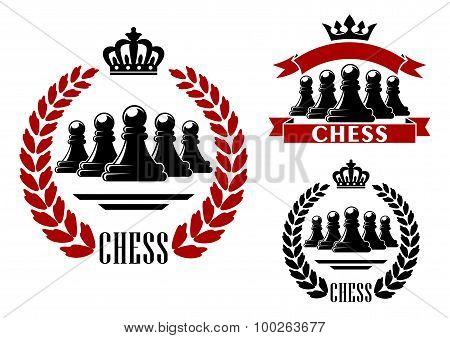 Elegant chess game heraldic symbol