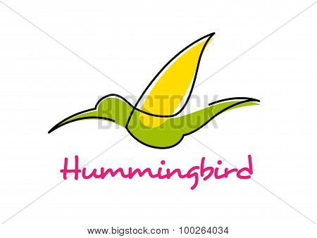 Cartoon isolated flying green hummingbird