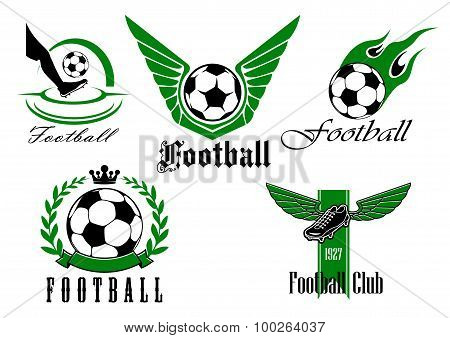 Football game icons or emblems set