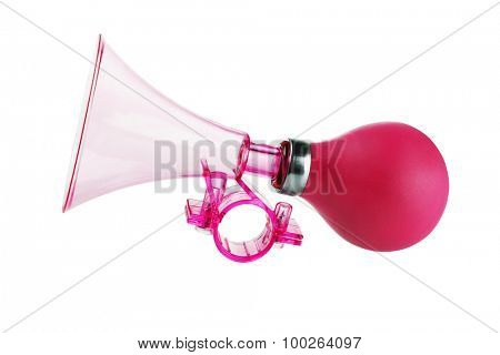Red Plastic Bicycle Air Horn on White Background