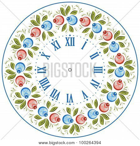 Russian Gorodets Clock Face
