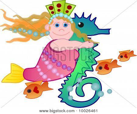 Cute mermaid riding on a sea horse