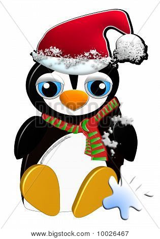 Cute penguin with Santa hat
