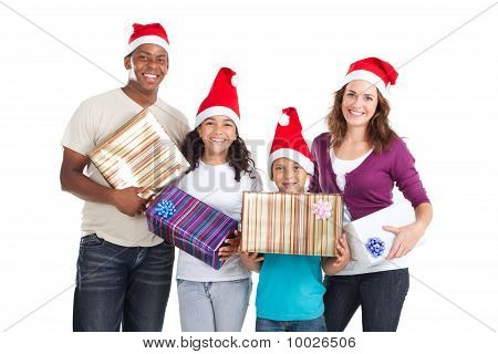 happy young xmas family holding gifts