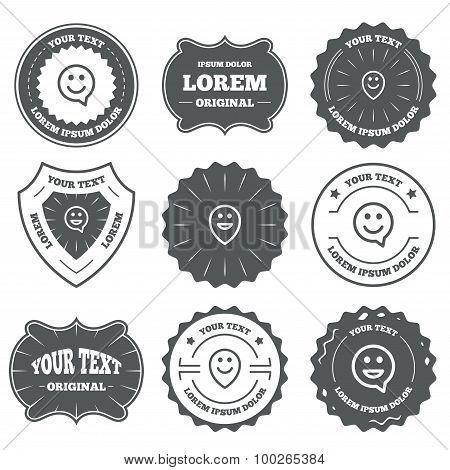 Happy face speech bubble icons. Pointer symbol.