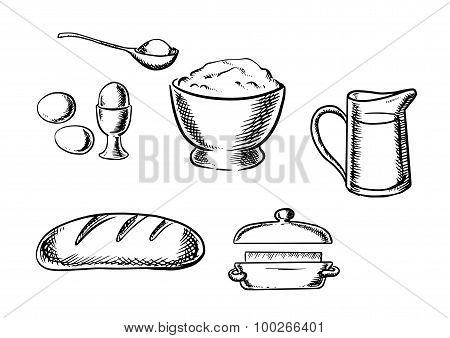 Set of baking ingredient icons