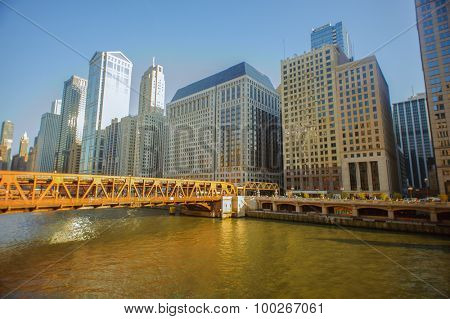 CHICAGO, USA - OCTOBER 04, 2011: Chicago downtown. Chicago is the third most populous city in the United States, after New York City and Los Angeles
