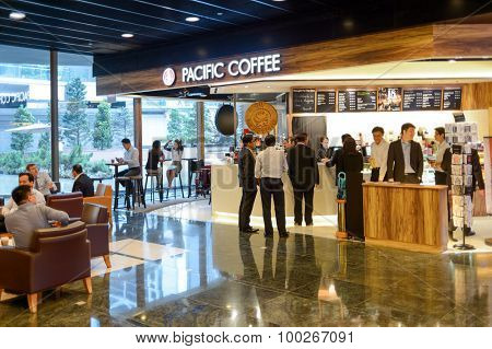 HONG KONG, CHINA - MAY 05, 2015: Pacific Coffee cafe interior. Pacific Coffee Company is a Pacific Northwest U.S.- style coffee shop group originating from Hong Kong