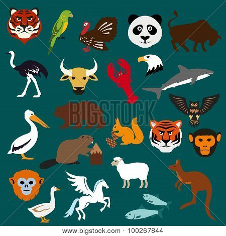 Animal and bird flat icons