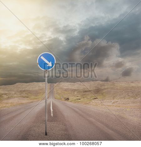 asphalt road with one way Road Sign
