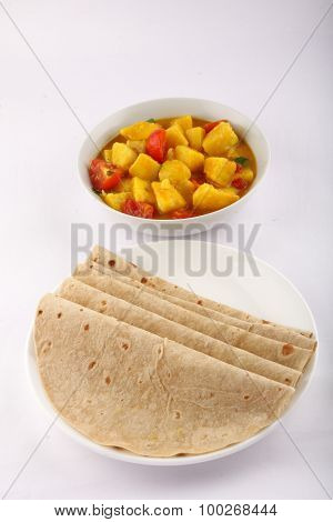 Homemade vegetable curry with hot Chapati.