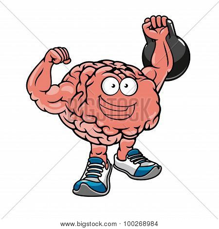 Brawny brain with muscles lifting weights