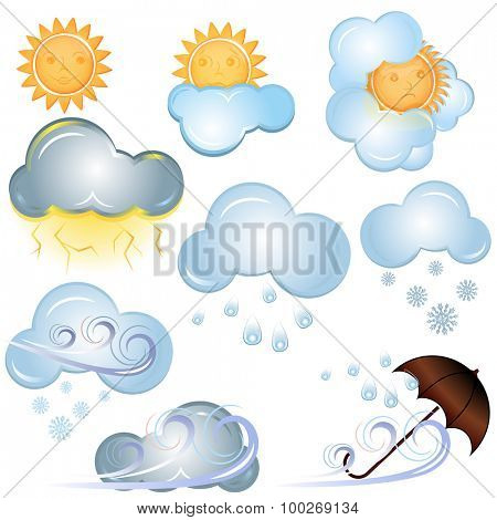 Weather signs isolated on white background.