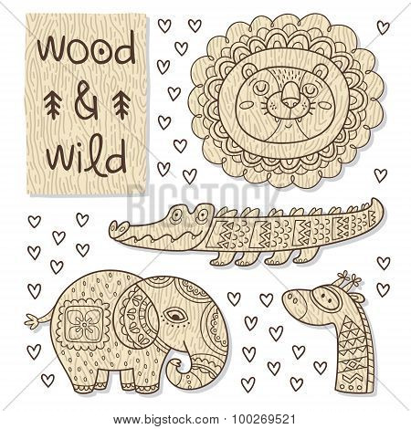 Wood animal figures. Eco friendly toys