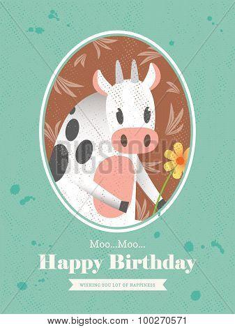 Cow Animal Cartoon Birthday Card Design