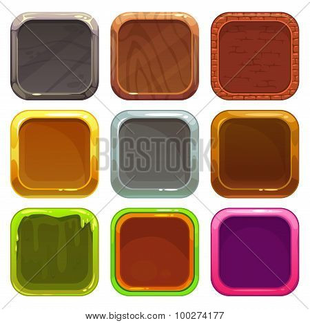 Set of square app icons