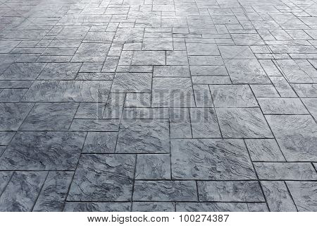 Cement Block Floor Of Pavement On City Street