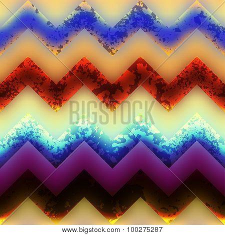 Grunge chevron pattern on blurred background.