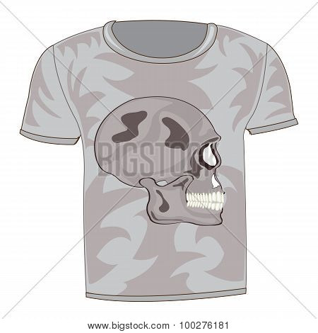 T-shirt with drawing of the skull