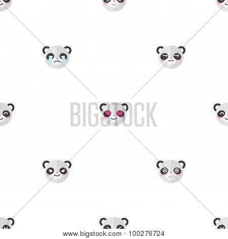 Vector flat cartoon panda heads with different emotions seamless pattern. Animal emoticons backgroun