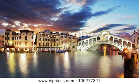 Rialto Bridge At Sunset, Venice, Italy
