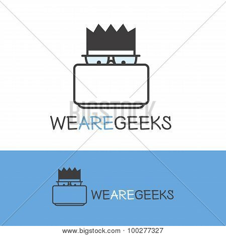 Vector geek logotype. Modern outline computer nerd logo.